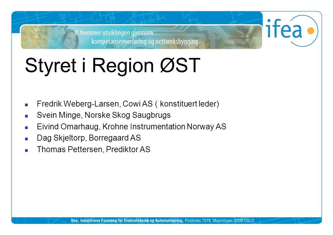 Styret i Region ØST  Fredrik Weberg-Larsen, Cowi AS ( konstituert leder)  Svein Minge, Norske Skog Saugbrugs  Eivind Omarhaug, Krohne Instrumentati