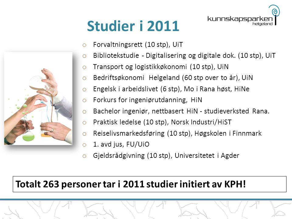 Studier i 2011 o Forvaltningsrett (10 stp), UiT o Bibliotekstudie - Digitalisering og digitale dok. (10 stp), UiT o Transport og logistikkøkonomi (10