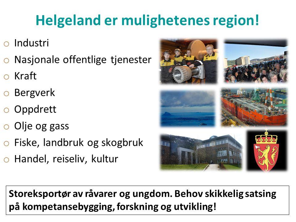 Helgeland er mulighetenes region! o Industri o Nasjonale offentlige tjenester o Kraft o Bergverk o Oppdrett o Olje og gass o Fiske, landbruk og skogbr