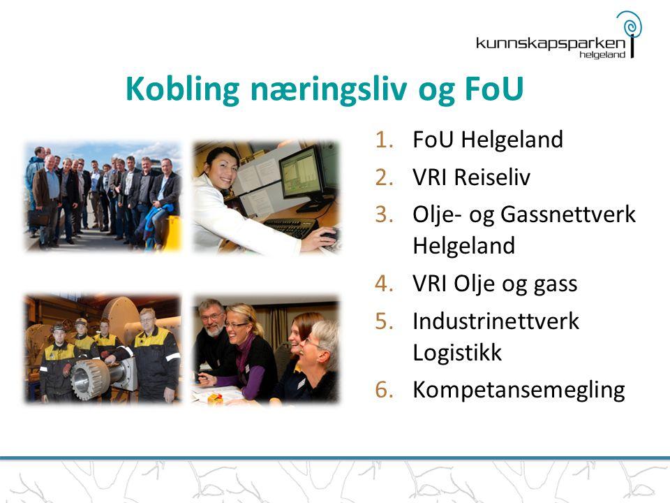 Kobling næringsliv og FoU 1.FoU Helgeland 2.VRI Reiseliv 3.Olje- og Gassnettverk Helgeland 4.VRI Olje og gass 5.Industrinettverk Logistikk 6.Kompetansemegling
