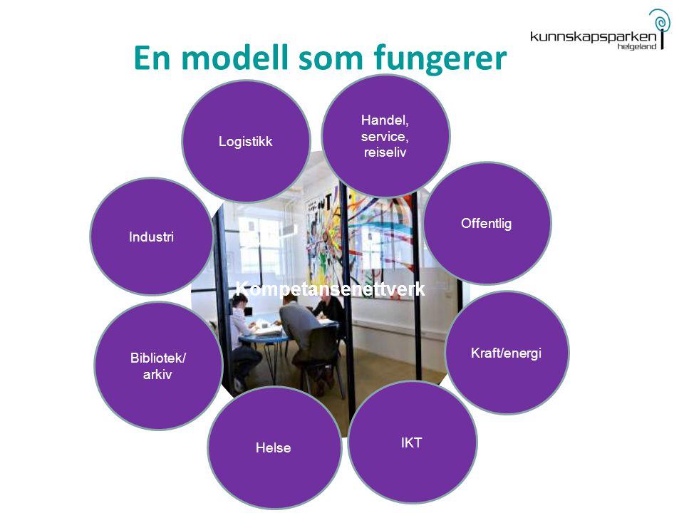 Kompetansenettverk Industri Handel, service, reiseliv Helse Offentlig Bibliotek/ arkiv Logistikk En modell som fungerer IKT Kraft/energi