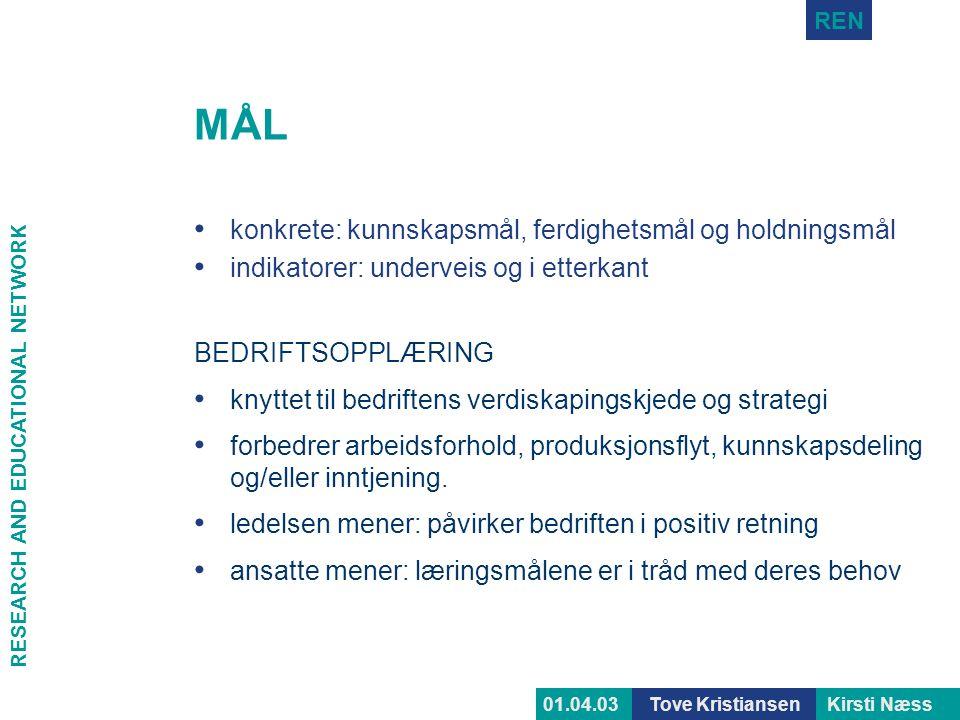 RESEARCH AND EDUCATIONAL NETWORK REN Tove KristiansenKirsti Næss01.04.03 MÅL • konkrete: kunnskapsmål, ferdighetsmål og holdningsmål • indikatorer: un