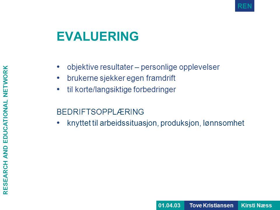 RESEARCH AND EDUCATIONAL NETWORK REN Tove KristiansenKirsti Næss01.04.03 EVALUERING • objektive resultater – personlige opplevelser • brukerne sjekker