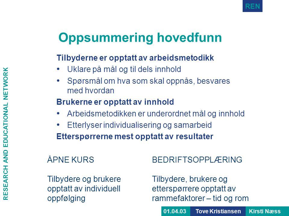 RESEARCH AND EDUCATIONAL NETWORK REN Tove KristiansenKirsti Næss01.04.03 Oppsummering hovedfunn Tilbyderne er opptatt av arbeidsmetodikk • Uklare på m