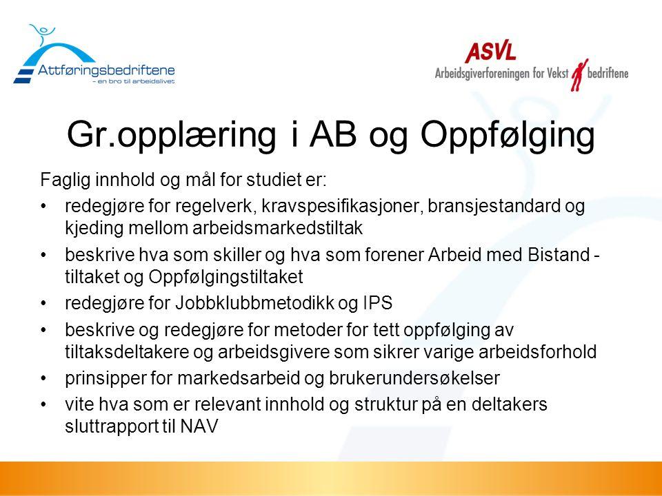 Gr.opplæring i AB og Oppfølging Faglig innhold og mål for studiet er: •redegjøre for regelverk, kravspesifikasjoner, bransjestandard og kjeding mellom