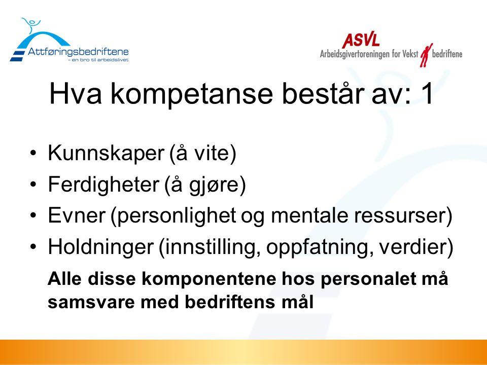 Hva kompetanse består av: 1 •Kunnskaper (å vite) •Ferdigheter (å gjøre) •Evner (personlighet og mentale ressurser) •Holdninger (innstilling, oppfatnin