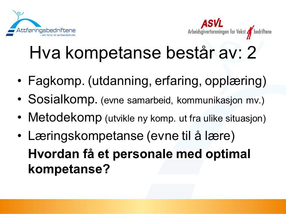 Hva kompetanse består av: 2 •Fagkomp. (utdanning, erfaring, opplæring) •Sosialkomp. (evne samarbeid, kommunikasjon mv.) •Metodekomp (utvikle ny komp.