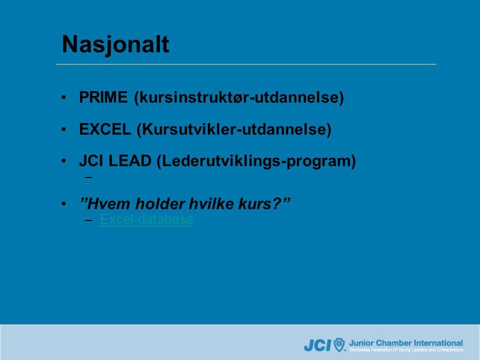 •PRIME (kursinstruktør-utdannelse) •EXCEL (Kursutvikler-utdannelse) •JCI LEAD (Lederutviklings-program) • Hvem holder hvilke kurs –Excel-databaseExcel-database Nasjonalt