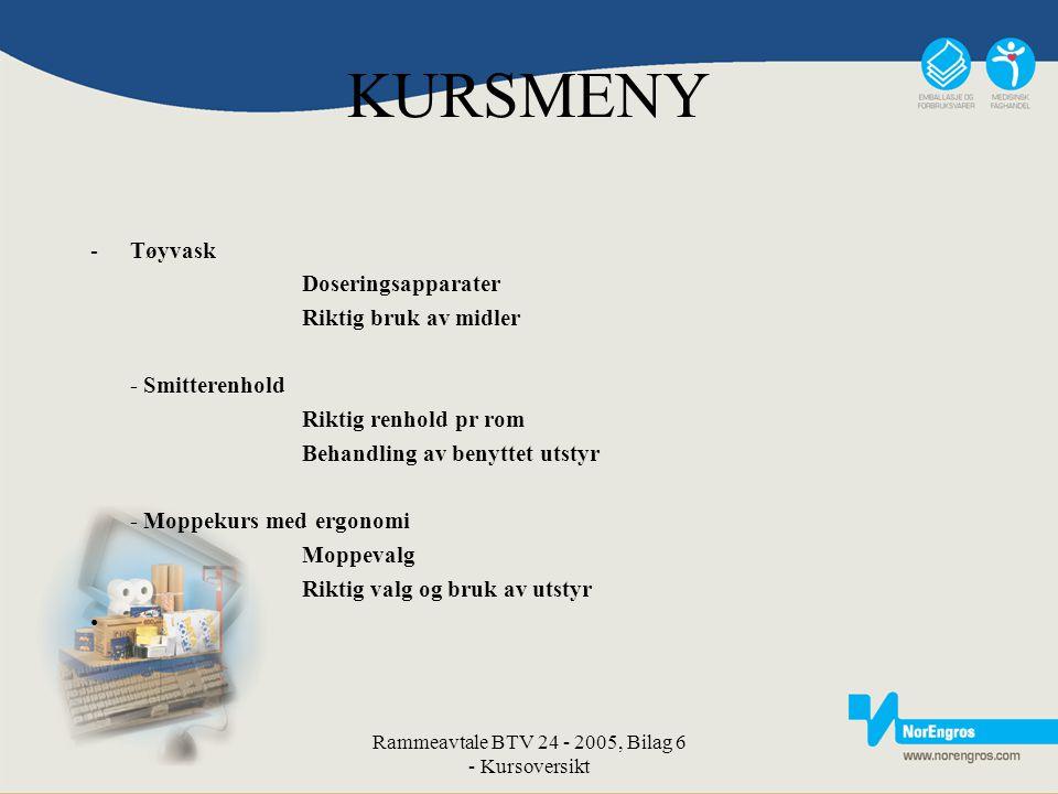 Rammeavtale BTV 24 - 2005, Bilag 6 - Kursoversikt KURSMENY -Tøyvask Doseringsapparater Riktig bruk av midler - Smitterenhold Riktig renhold pr rom Beh