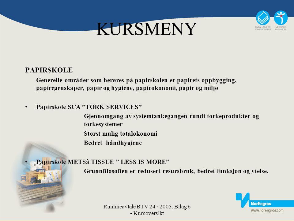 Rammeavtale BTV 24 - 2005, Bilag 6 - Kursoversikt KURSMENY PAPIRSKOLE Generelle områder som berøres på papirskolen er papirets oppbygging, papiregensk