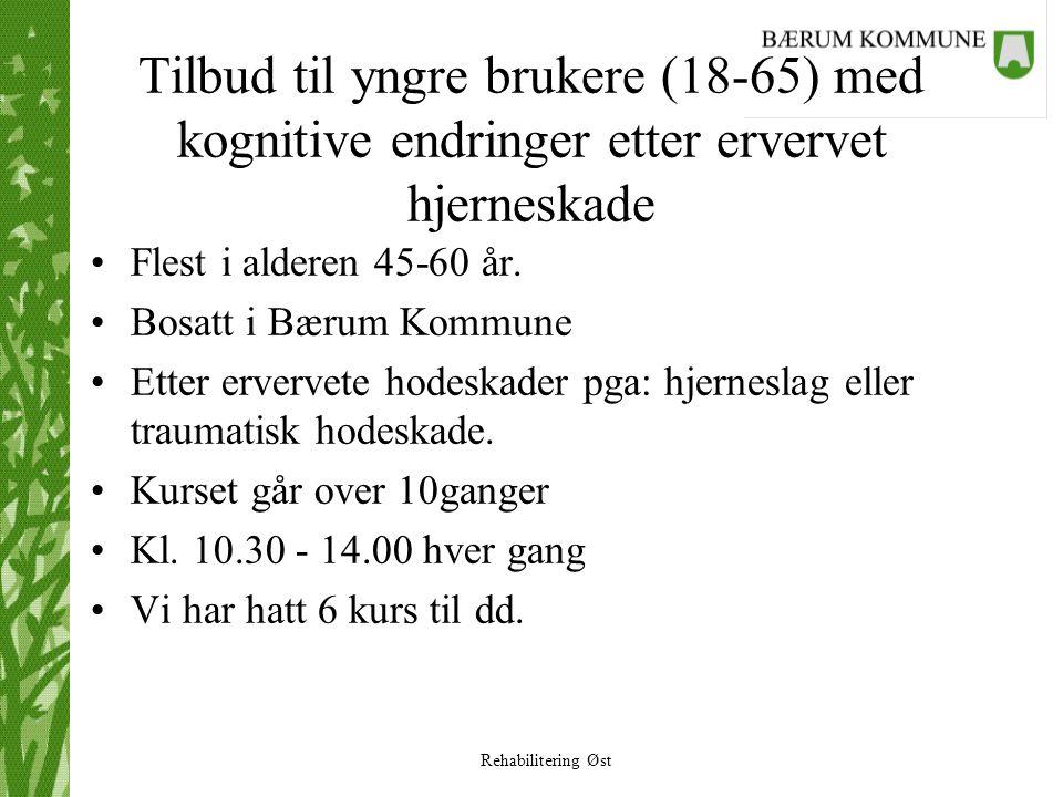 Rehabilitering Øst Tilbud til yngre brukere (18-65) med kognitive endringer etter ervervet hjerneskade •Flest i alderen 45-60 år. •Bosatt i Bærum Komm