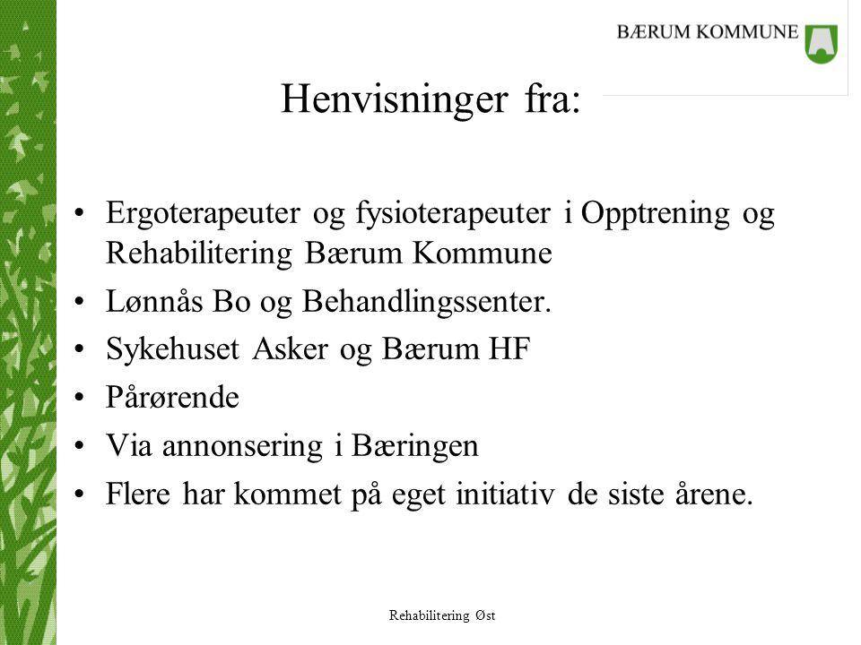 Rehabilitering Øst Henvisninger fra: •Ergoterapeuter og fysioterapeuter i Opptrening og Rehabilitering Bærum Kommune •Lønnås Bo og Behandlingssenter.