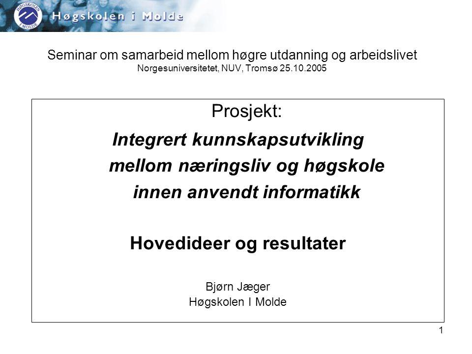 1 Seminar om samarbeid mellom høgre utdanning og arbeidslivet Norgesuniversitetet, NUV, Tromsø 25.10.2005 Prosjekt: Integrert kunnskapsutvikling mellom næringsliv og høgskole innen anvendt informatikk Hovedideer og resultater Bjørn Jæger Høgskolen I Molde