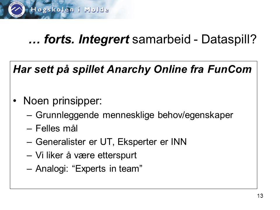 13 Har sett på spillet Anarchy Online fra FunCom •Noen prinsipper: –Grunnleggende mennesklige behov/egenskaper –Felles mål –Generalister er UT, Eksperter er INN –Vi liker å være etterspurt –Analogi: Experts in team … forts.