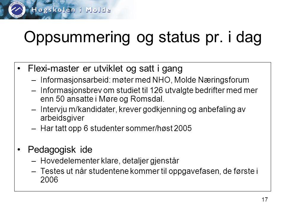 17 Oppsummering og status pr.