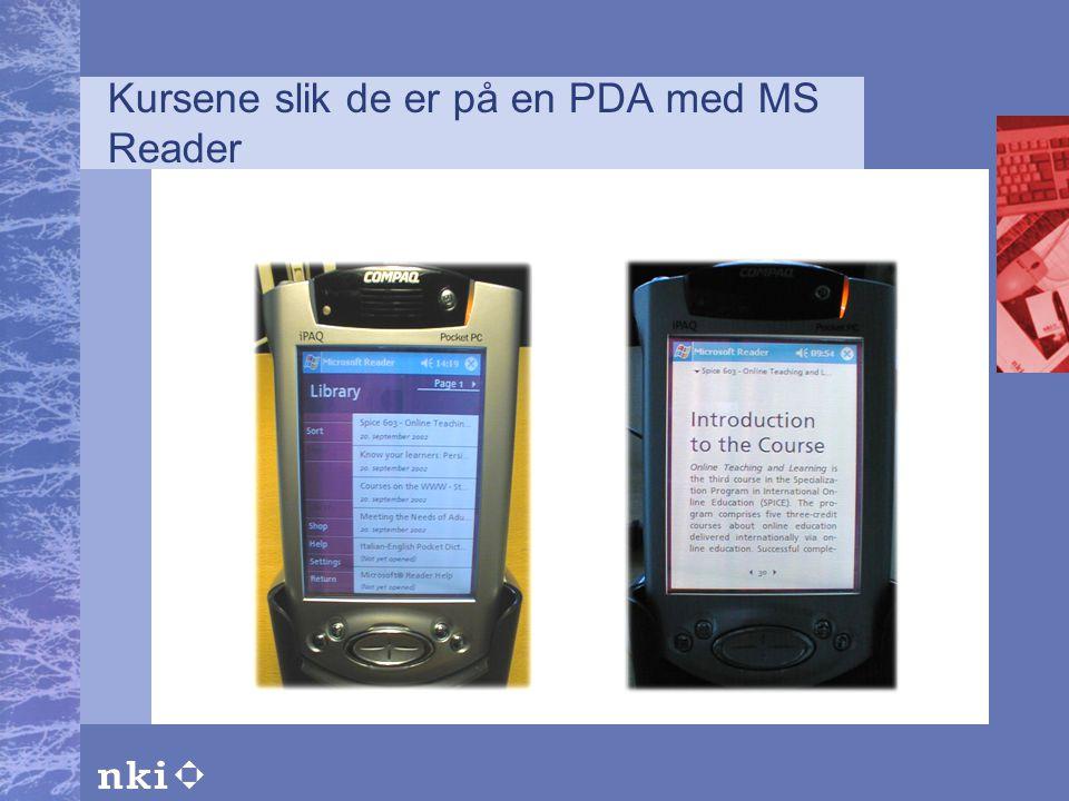 Kursene slik de er på en PDA med MS Reader