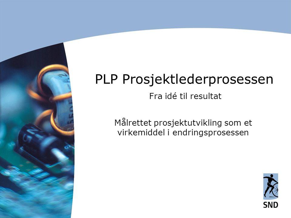 PLP Prosjektlederprosessen Fra idé til resultat Målrettet prosjektutvikling som et virkemiddel i endringsprosessen