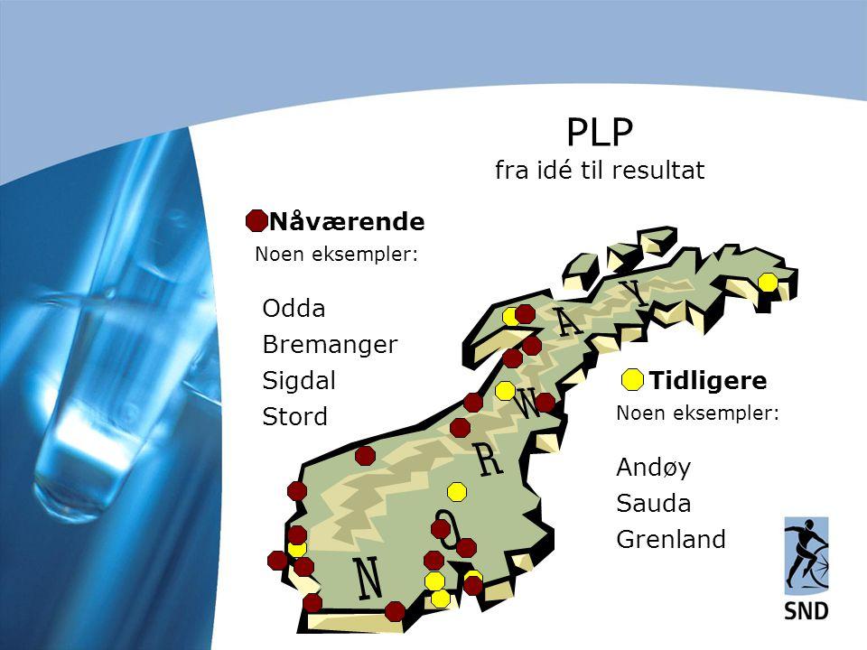 Nåværende Noen eksempler: Odda Bremanger Sigdal Stord Tidligere Noen eksempler: Andøy Sauda Grenland PLP fra idé til resultat