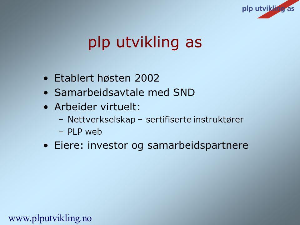 •Etablert høsten 2002 •Samarbeidsavtale med SND •Arbeider virtuelt: –Nettverkselskap – sertifiserte instruktører –PLP web •Eiere: investor og samarbei