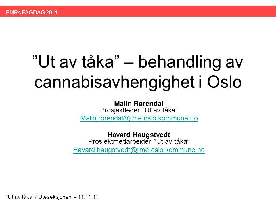 Veien videre •Nytt opplæringskurs for personale i bydeler i Oslo i 2012 •Gruppe og individuelt tilbud •Ettervern / Nettverksarbeid •Samarbeide tettere med spesialisthelsetjenesten Ut av tåka / Uteseksjonen – 11.11.11 FMRs FAGDAG 2011