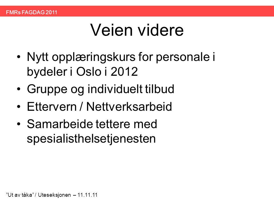 Veien videre •Nytt opplæringskurs for personale i bydeler i Oslo i 2012 •Gruppe og individuelt tilbud •Ettervern / Nettverksarbeid •Samarbeide tettere