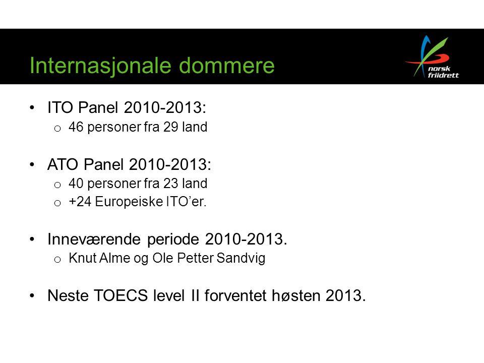 Internasjonale dommere •ITO Panel 2010-2013: o 46 personer fra 29 land •ATO Panel 2010-2013: o 40 personer fra 23 land o +24 Europeiske ITO'er.