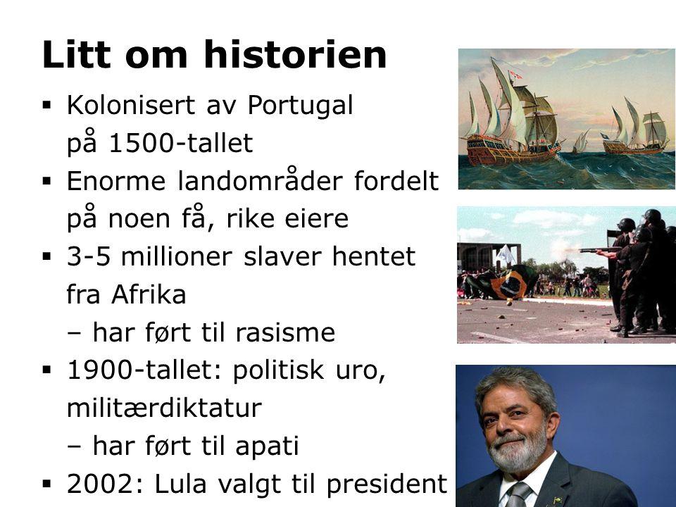 Litt om historien  Kolonisert av Portugal på 1500-tallet  Enorme landområder fordelt på noen få, rike eiere  3-5 millioner slaver hentet fra Afrika