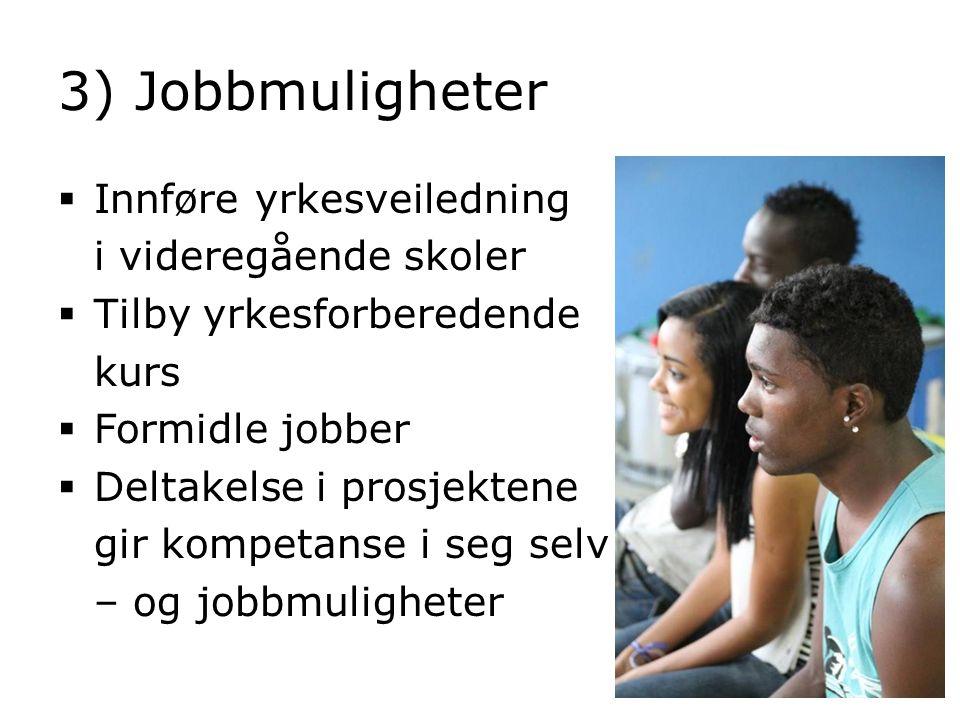 3) Jobbmuligheter  Innføre yrkesveiledning i videregående skoler  Tilby yrkesforberedende kurs  Formidle jobber  Deltakelse i prosjektene gir komp