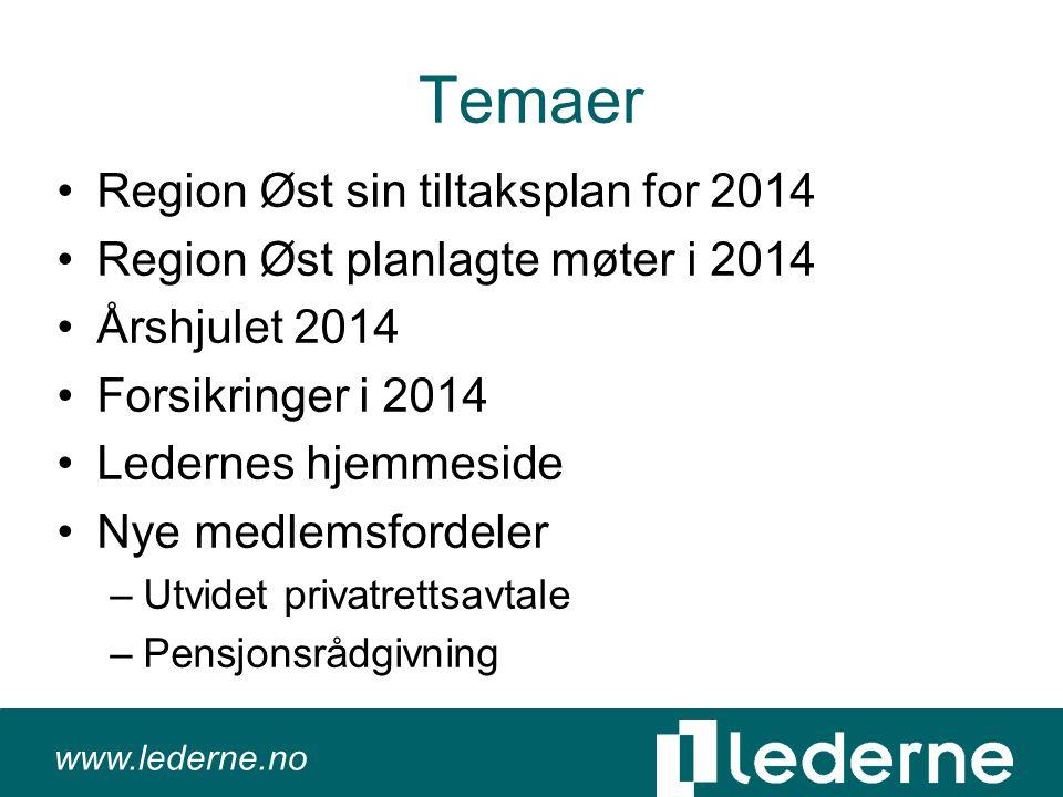 www.lederne.no Temaer •Region Øst sin tiltaksplan for 2014 •Region Øst planlagte møter i 2014 •Årshjulet 2014 •Forsikringer i 2014 •Ledernes hjemmeside •Nye medlemsfordeler –Utvidet privatrettsavtale –Pensjonsrådgivning