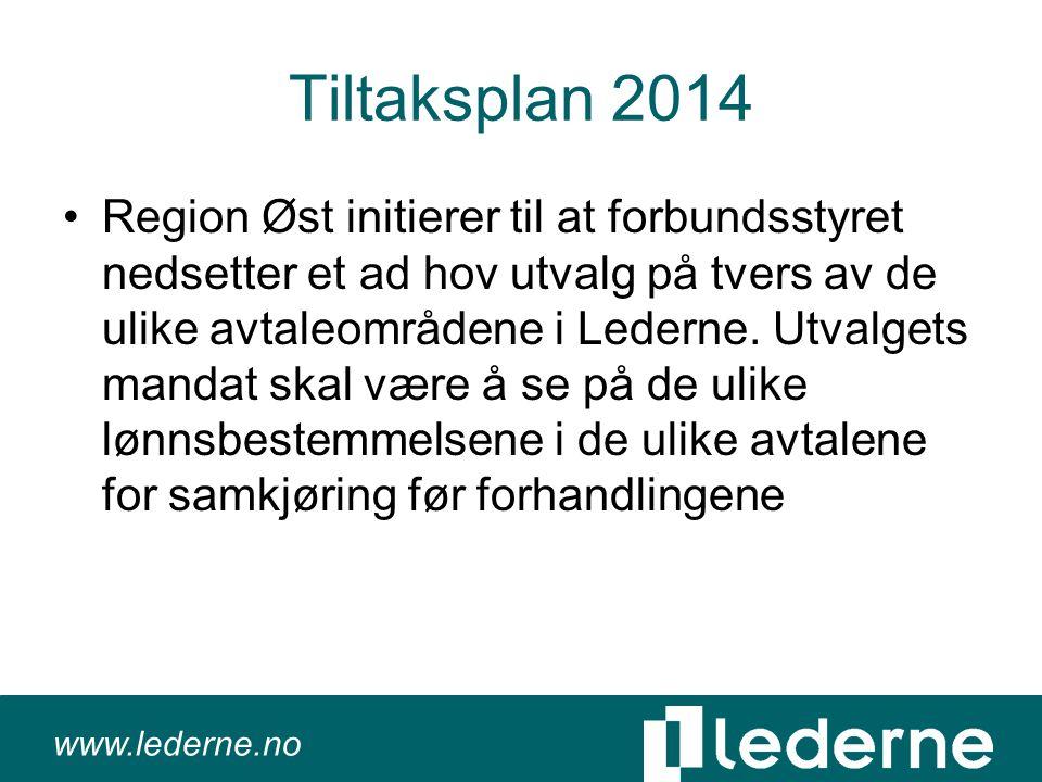www.lederne.no Tiltaksplan 2014 •Region Øst initierer til at forbundsstyret nedsetter et ad hov utvalg på tvers av de ulike avtaleområdene i Lederne.