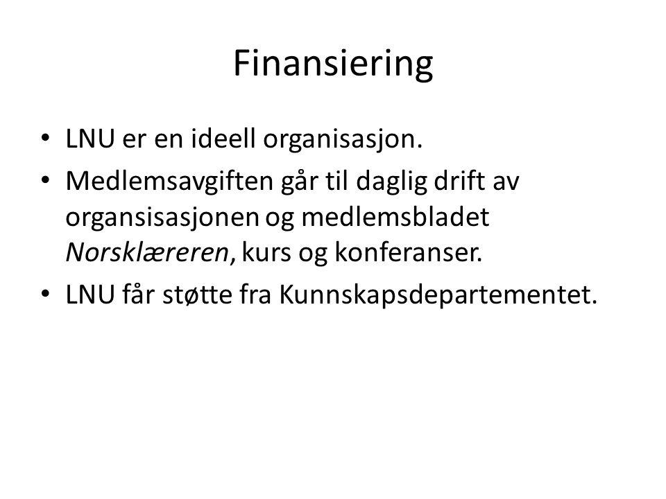 Finansiering • LNU er en ideell organisasjon. • Medlemsavgiften går til daglig drift av organsisasjonen og medlemsbladet Norsklæreren, kurs og konfera