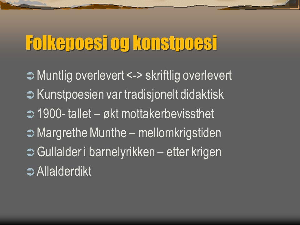 Folkepoesi og konstpoesi  Muntlig overlevert skriftlig overlevert  Kunstpoesien var tradisjonelt didaktisk  1900- tallet – økt mottakerbevissthet 