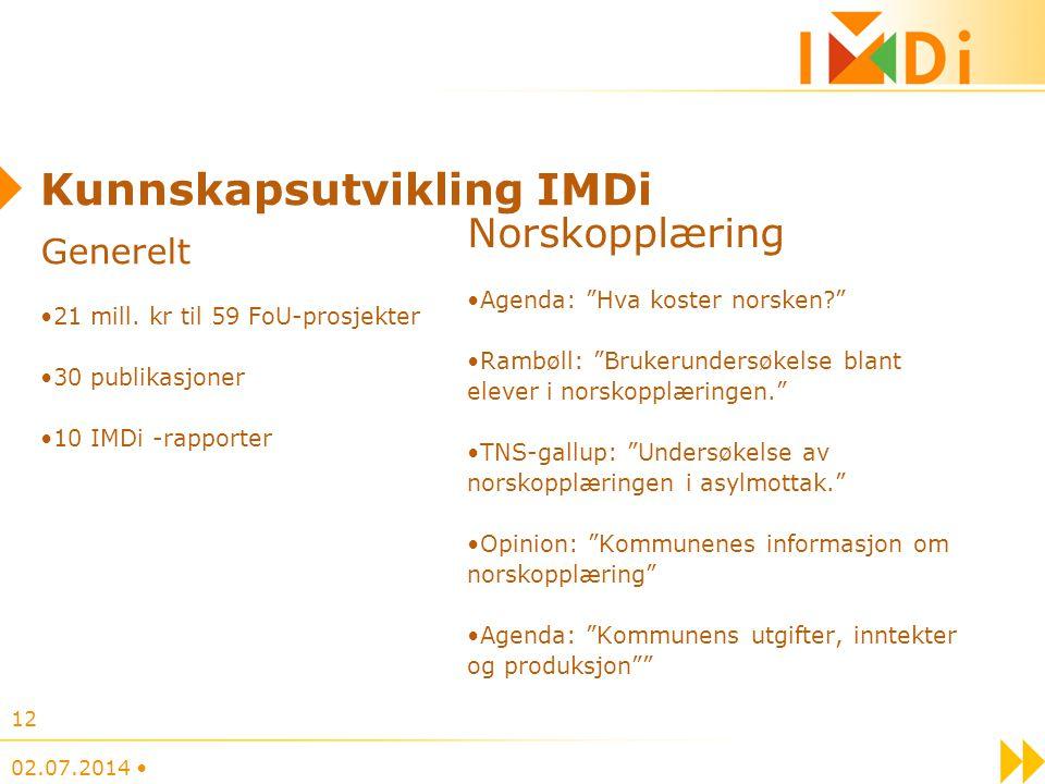 """Kunnskapsutvikling IMDi Generelt •21 mill. kr til 59 FoU-prosjekter •30 publikasjoner •10 IMDi -rapporter Norskopplæring •Agenda: """"Hva koster norsken?"""