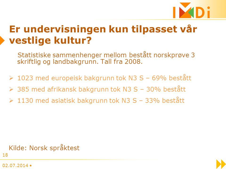 02.07.2014 • 18 Er undervisningen kun tilpasset vår vestlige kultur? Statistiske sammenhenger mellom bestått norskprøve 3 skriftlig og landbakgrunn. T