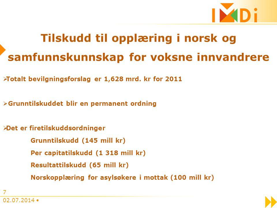 7 Tilskudd til opplæring i norsk og samfunnskunnskap for voksne innvandrere  Totalt bevilgningsforslag er 1,628 mrd. kr for 2011  Grunntilskuddet bl