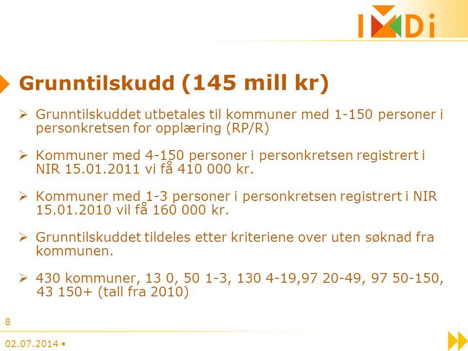 02.07.2014 • 8 Grunntilskudd (145 mill kr)  Grunntilskuddet utbetales til kommuner med 1-150 personer i personkretsen for opplæring (RP/R)  Kommuner