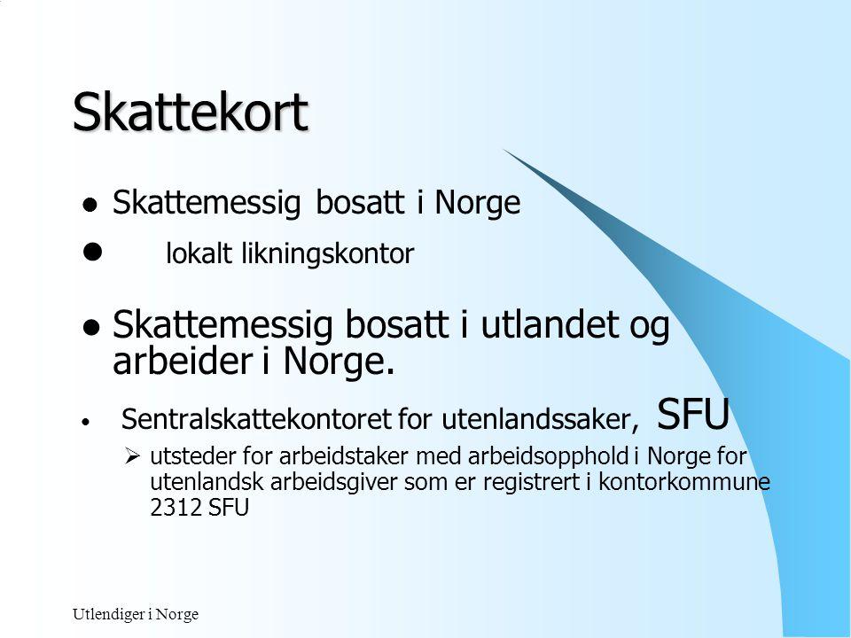 Utlendiger i Norge Skattekort med D- nummer Lov av 16.01.72 § 4 om folkeregistrering og Forskrift av 14.02.95 D-nummer gis blant annet når: - vedkommende er skatte- og avgiftspliktig i Norge av inntekt som opptjenes her.