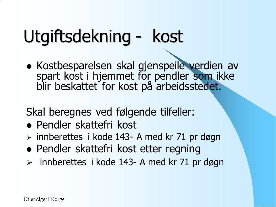 Utlendiger i Norge Utgiftsdekning - losji  Refusjon etter regning  Fri bolig på arbeidsstedet  Fritt losji