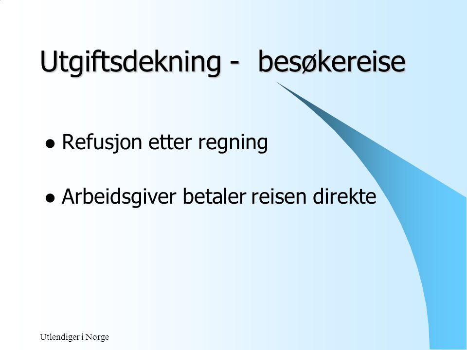 Utlendiger i Norge Dekning av kost på besøkereise til hjemmet.