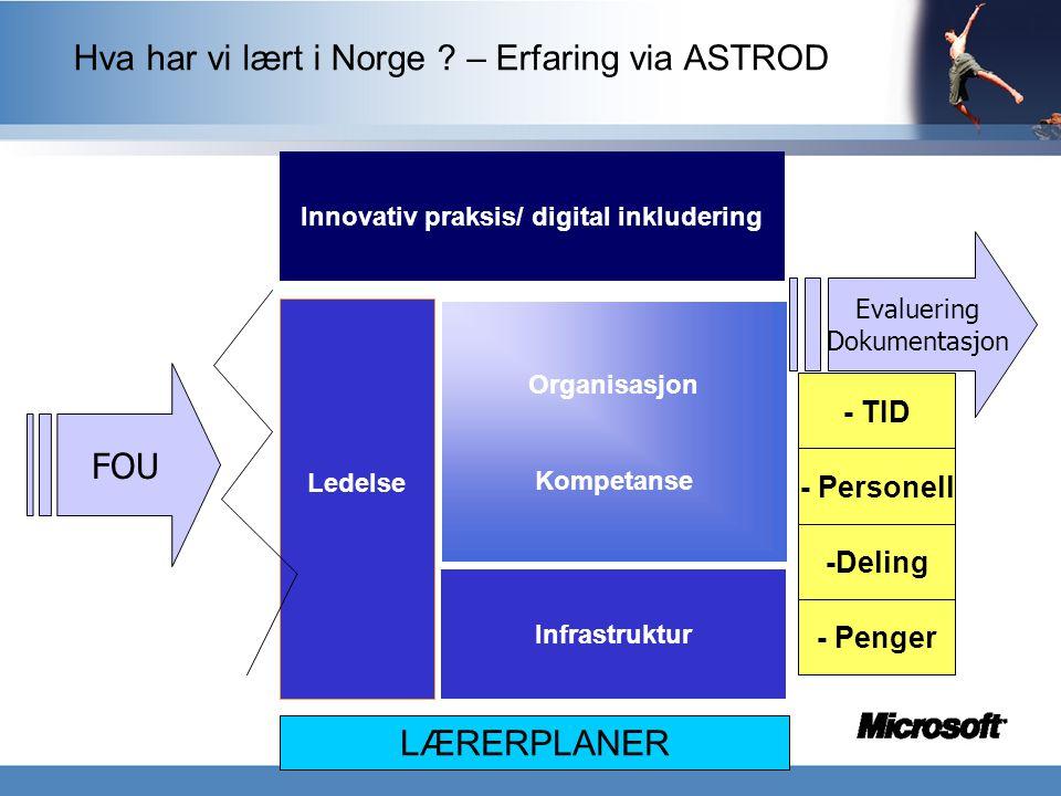 Ledelse Innovativ praksis/ digital inkludering Infrastruktur Organisasjon Kompetanse - TID - Penger - Personell FOU Evaluering Dokumentasjon Hva har v