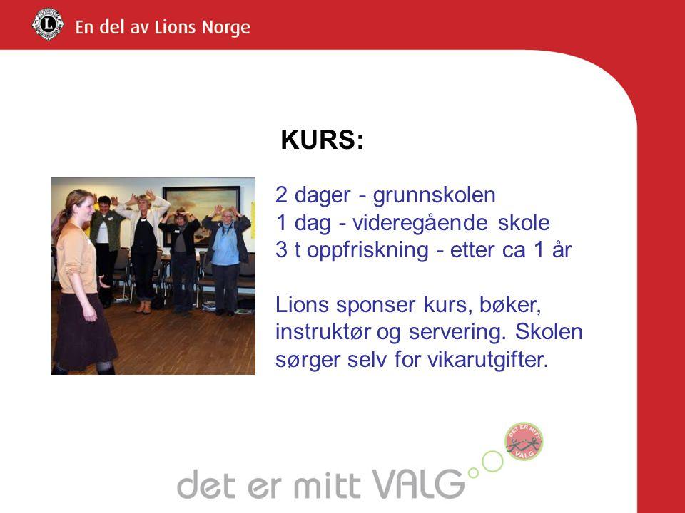 KURS: 2 dager - grunnskolen 1 dag - videregående skole 3 t oppfriskning - etter ca 1 år Lions sponser kurs, bøker, instruktør og servering.