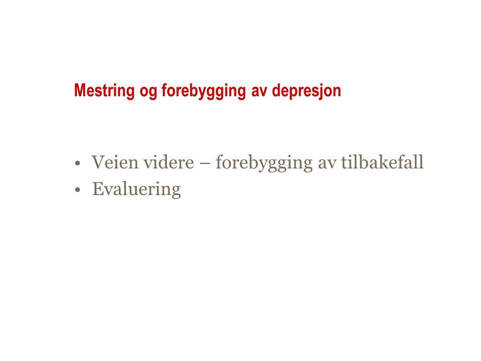 Mestring og forebygging av depresjon •Veien videre – forebygging av tilbakefall •Evaluering