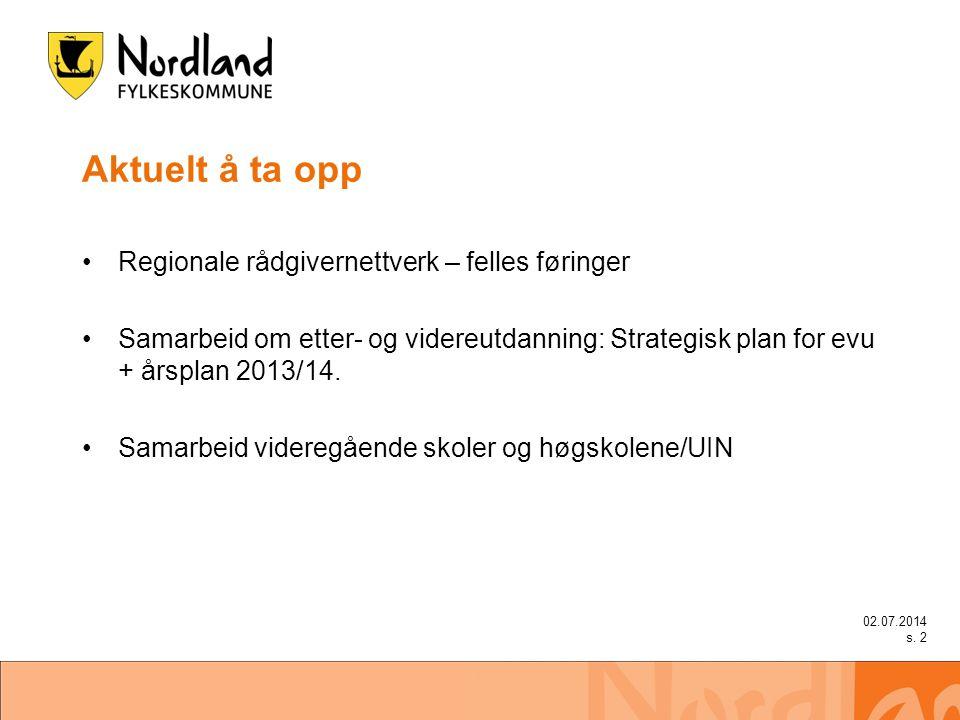Aktuelt å ta opp •Regionale rådgivernettverk – felles føringer •Samarbeid om etter- og videreutdanning: Strategisk plan for evu + årsplan 2013/14. •Sa