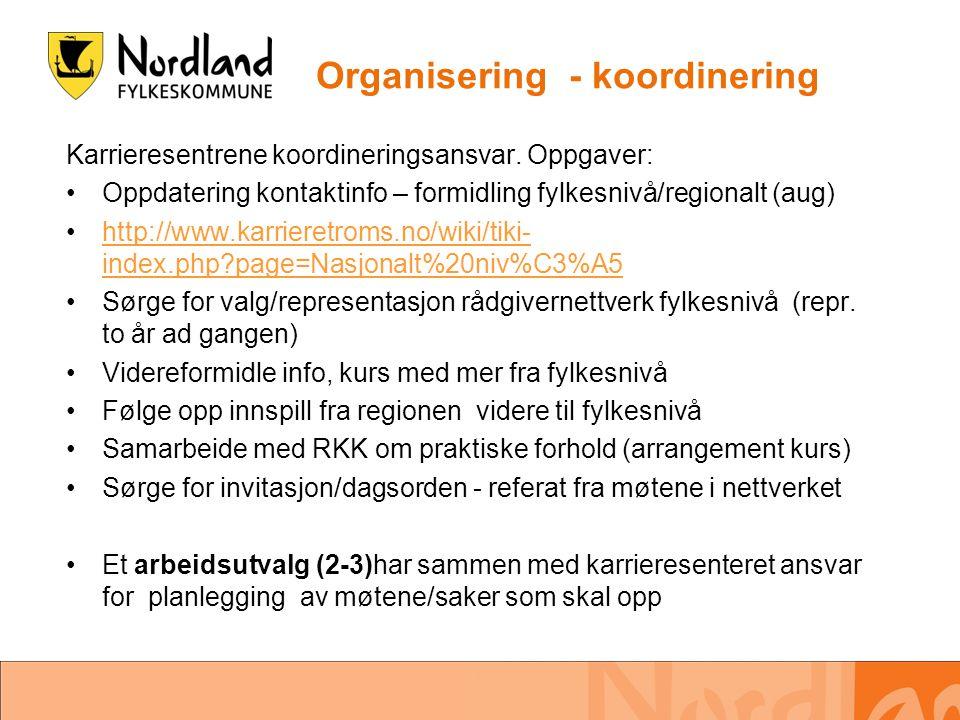 Organisering - koordinering Karrieresentrene koordineringsansvar. Oppgaver: •Oppdatering kontaktinfo – formidling fylkesnivå/regionalt (aug) •http://w