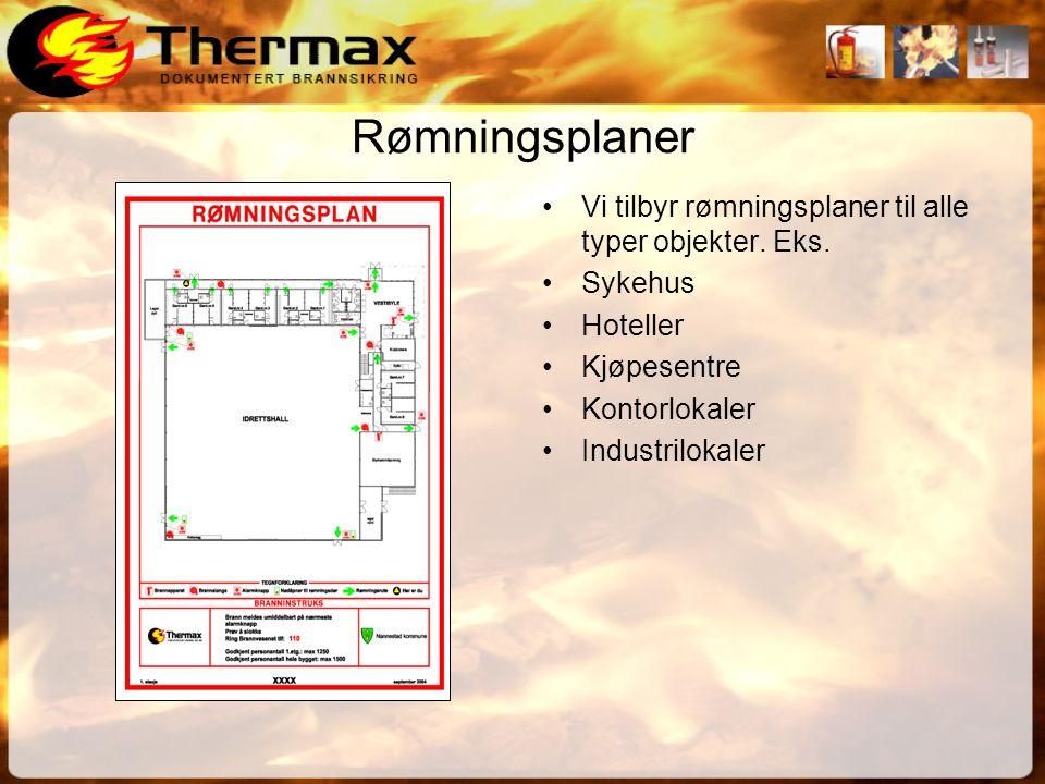 Rømningsplaner •Vi tilbyr rømningsplaner til alle typer objekter.