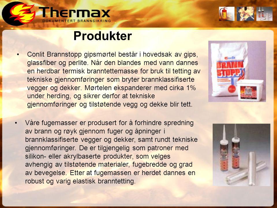 Produkter •Conlit Brannstopp gipsmørtel består i hovedsak av gips, glassfiber og perlite.