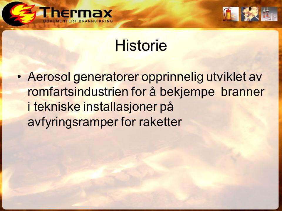 Historie •Aerosol generatorer opprinnelig utviklet av romfartsindustrien for å bekjempe branner i tekniske installasjoner på avfyringsramper for raketter