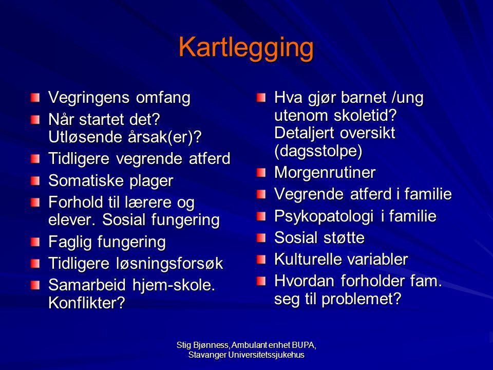 Stig Bjønness, Ambulant enhet BUPA, Stavanger Universitetssjukehus Kartlegging Vegringens omfang Når startet det? Utløsende årsak(er)? Tidligere vegre