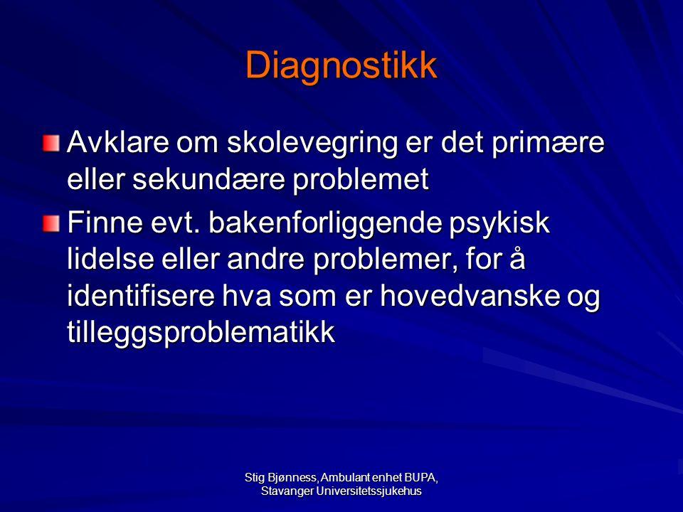 Stig Bjønness, Ambulant enhet BUPA, Stavanger Universitetssjukehus Diagnostikk Avklare om skolevegring er det primære eller sekundære problemet Finne evt.