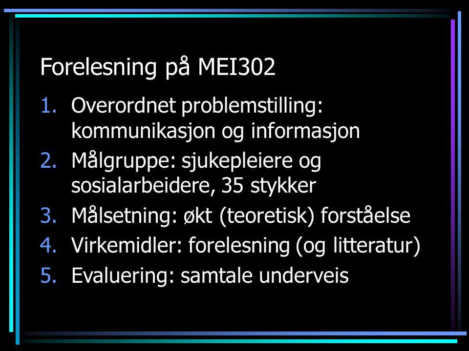 Forelesning på MEI302 1.Overordnet problemstilling: kommunikasjon og informasjon 2.Målgruppe: sjukepleiere og sosialarbeidere, 35 stykker 3.Målsetning: økt (teoretisk) forståelse 4.Virkemidler: forelesning (og litteratur) 5.Evaluering: samtale underveis